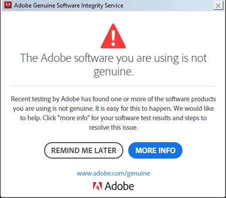 Adobe Warning